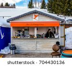 Small photo of COURCHEVEL, FRANCE - JANUARY 24, 2017 : Outdoor bar for apres ski on the slope to winter ski resort Courchevel, France.