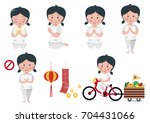 vegetarian festival with girl... | Shutterstock .eps vector #704431066
