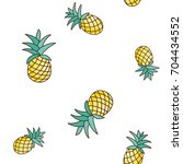 tropical ananas pineapple fruit ... | Shutterstock .eps vector #704434552