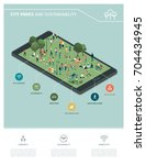 city park  sustainability and... | Shutterstock .eps vector #704434945
