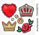 set of stickers. crown  roses... | Shutterstock .eps vector #704438572
