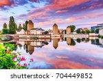 Strasbourg, Alsace, France. Medieval bridge Ponts Couverts and Barrage Vauban.