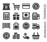 shopping icon set | Shutterstock . vector #704450122