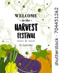 harvest festival. vegetables ... | Shutterstock .eps vector #704451262