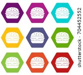burger icon set many color... | Shutterstock .eps vector #704452552