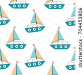 boat seamless baby pattern... | Shutterstock .eps vector #704453806
