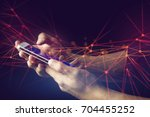 use phone connect globe network ... | Shutterstock . vector #704455252