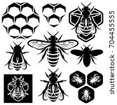 set of monochrome honey emblems ... | Shutterstock .eps vector #704455555