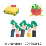 flat vector illustration set of ... | Shutterstock .eps vector #704463862