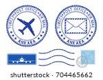 postmarks ankara  turkey. blue... | Shutterstock .eps vector #704465662