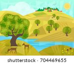 golden hills   rural landscape... | Shutterstock .eps vector #704469655