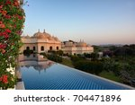 Small photo of UDAIPUR, INDIA - JANUARY 21, 2017: Pool at the Oberoi Udaivilas Hotel. Located on the bank of Lake Pichola the hotel has over fifty acres, which includes a twenty-acre wildlife sanctuary.