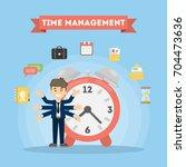 time management six hands man.... | Shutterstock .eps vector #704473636