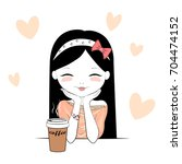 cute girl with coffee cup day... | Shutterstock .eps vector #704474152