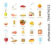 food ingredients set as... | Shutterstock .eps vector #704474212