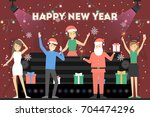 new year party. people in santa ... | Shutterstock .eps vector #704474296
