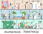 photo studio set of... | Shutterstock .eps vector #704474416