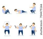 fat man training set on white... | Shutterstock .eps vector #704475166