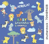 Stock vector african savanna baby animals vector set 704489608