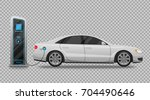 electric car charging station... | Shutterstock .eps vector #704490646