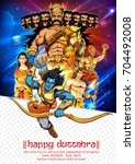 illustration of lord rama with... | Shutterstock .eps vector #704492008