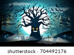 halloween background. scary... | Shutterstock .eps vector #704492176