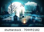 Halloween Background. Graveyar...
