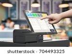 human hand working with 3d... | Shutterstock . vector #704493325