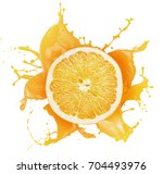 orange with juice splash... | Shutterstock . vector #704493976