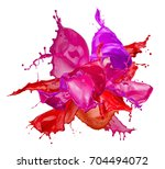 colorful paint splashes... | Shutterstock . vector #704494072