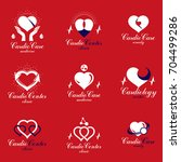 red heart shapes made using ecg ... | Shutterstock .eps vector #704499286