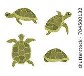 Stock vector sea turtle vector illustration set isolated on white background turtles in different positions views 704500132