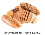mixed frash baked bread on... | Shutterstock . vector #704513752