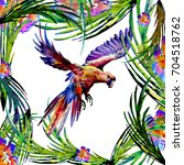 watercolor heavenly bird on the ... | Shutterstock . vector #704518762