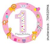 first birthday baby girl...   Shutterstock .eps vector #704520946