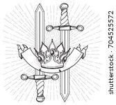 contour image of crown swords ... | Shutterstock .eps vector #704525572