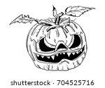 vector   halloween pumpkin with ... | Shutterstock .eps vector #704525716