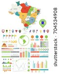 brazil map and infographics... | Shutterstock .eps vector #704534908
