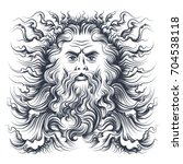 roman sea god neptune head.... | Shutterstock .eps vector #704538118