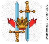 crown  swords and ribbon.... | Shutterstock .eps vector #704543872