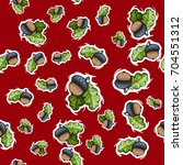 seamless pattern with acorns... | Shutterstock .eps vector #704551312