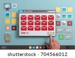 Small photo of User removing spam in the inbox and checking mails using an e-mail reader, collage and paper cut composition
