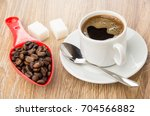 Red Spoon With Coffee Beans ...