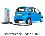 electric car in charging... | Shutterstock . vector #704571898