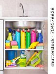 cleaning products placed in... | Shutterstock . vector #704576626