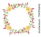 watercolor summer flower wreath ... | Shutterstock . vector #704596642