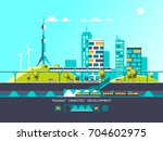 flat illustration with city... | Shutterstock .eps vector #704602975