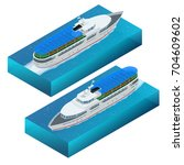 isometric set of pleasure boat. ... | Shutterstock .eps vector #704609602