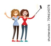 adult girls  women  two best... | Shutterstock .eps vector #704614378