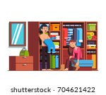 family couple husband   wife... | Shutterstock .eps vector #704621422